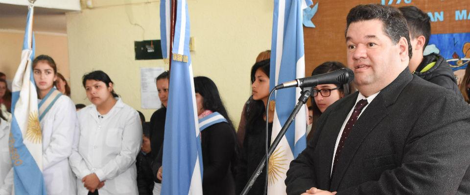 Nedela encabezó en la Escuela 501 el Acto Escolar por el 168 aniversario de la muerte del General San Martín